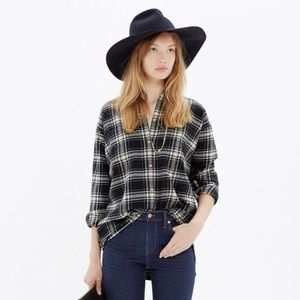 Madewell Flannel Trapeze Shirt Overcast Plaid L